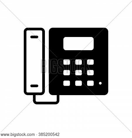 Black Solid Icon For Telephone Cellular Landline Gadget Device Communication Phone Call Contact Conn
