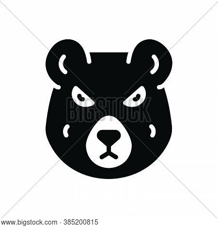 Black Solid Icon For Bear Omnivores-animal Grizzly Animal Polar-bear Hunting Wild Nature Face Danger