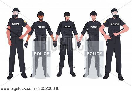 Mix Race Policemen In Full Tactical Gear Standing Together Riot Police Officers Protesters And Demon