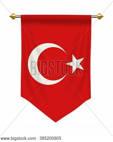 Turkey Flag Or Pennant Isolated On White