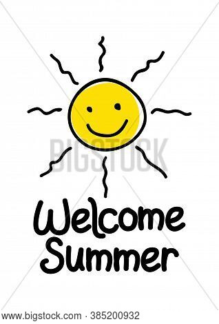 Welcome Summer Icon With Simple Cute Sun Graphic Isolated On White