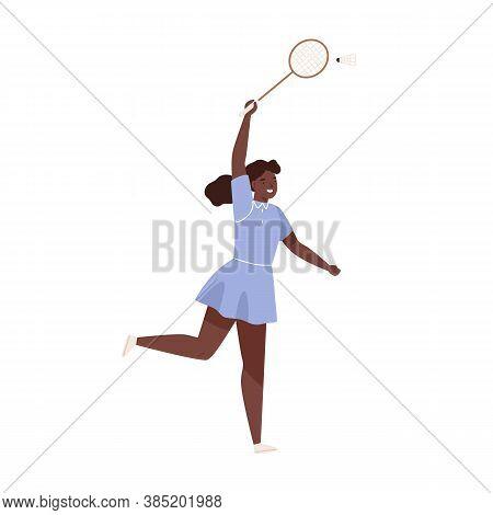 Dark Skin Female Badminton Player Jumping Hitting Shuttlecock Vector Flat Illustration. Sportswoman