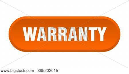 Warranty Button. Warranty Rounded Orange Sign. Label