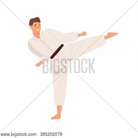 Smiling Guy In Kimono Demonstrate Hitting Exercise Raising Leg Practicing Karate Vector Flat Illustr