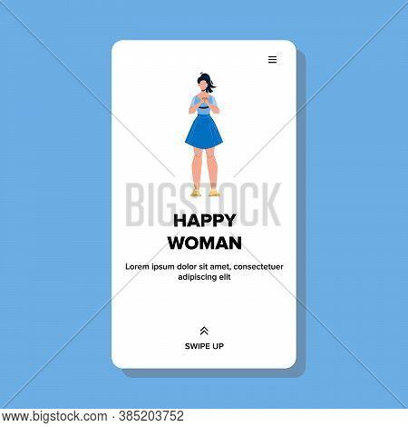 Beautiful Optimistic Cheerful Happy Woman Vector Illustration
