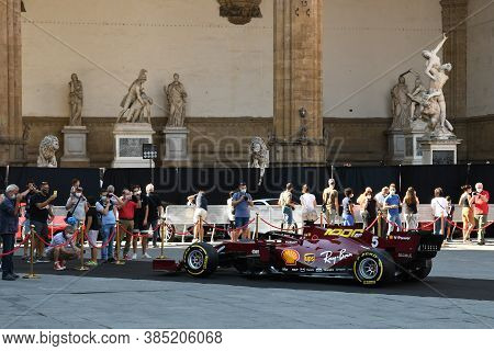 Florence, September 2020: Ferrari Sf1000 F1 On Display During The Ferrari 1000 Gp Show In Front Of T