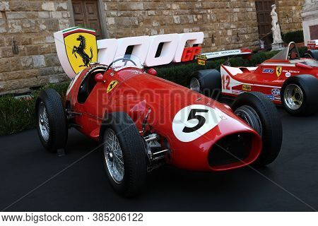 Florence, September 2020: Ferrari 500 F2 F1 Of Year 1952 On Display During The Ferrari 1000 Gp Show
