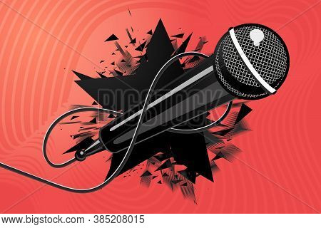 Microphone With Black Star. Vector Mic. Music Background Illustration, Modern Style.