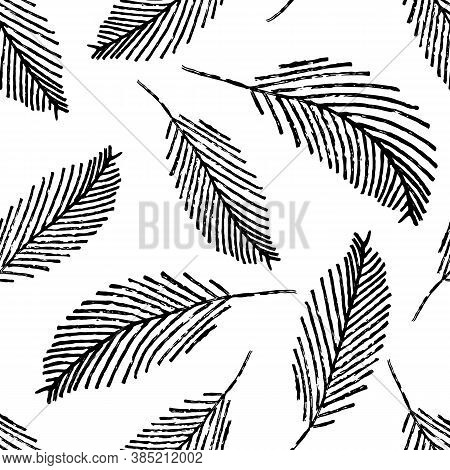 Mono Print Style Scattered Leaves Seamless Vector Pattern Background. Simple Lino Cut Effect Painter