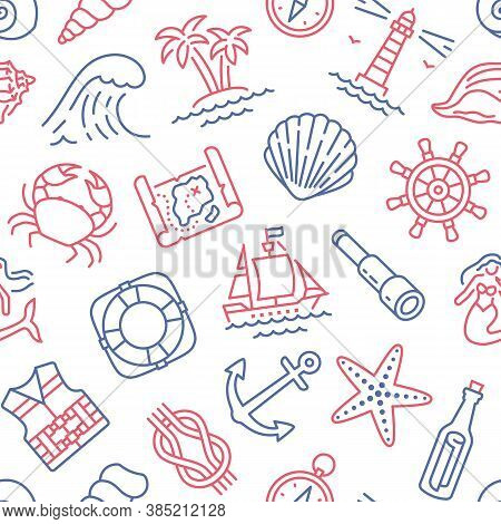 Marine Seamless Pattern With Line Icons. Vector Background Illustration Included Icon As Anchor, Sea