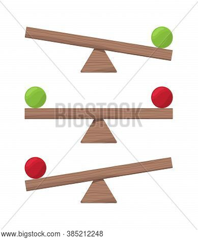 Wooden Seesaw. Balance Scale Or Equilibrio Items Vector Flat Illustrations. Board Balance Equality,