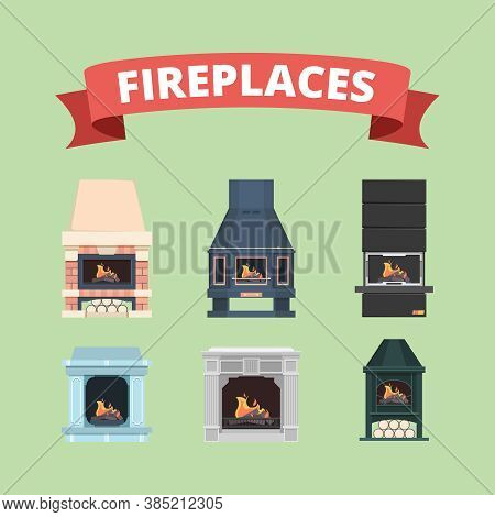 Fireplace. Retro Gas Stove Flame Decoration In Interior Vector Flat Pictures Fireplaces. Stove With