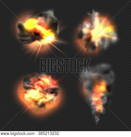 Bomb Explosion. Exploded Fire Flame And Smoke Dramatic Effects Vector Realistic Templates. Illustrat