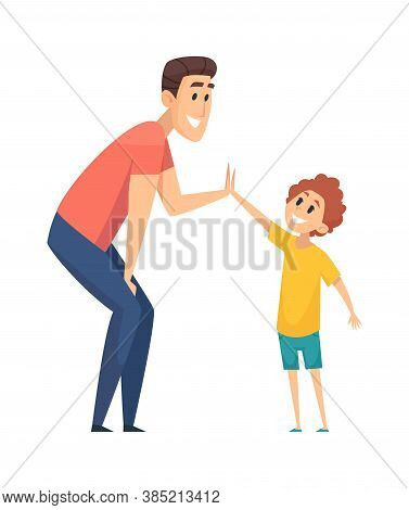 High Five. Man Greeting Boy, Happy People. Cartoon Father Spend Time With Son Together Vector Illust