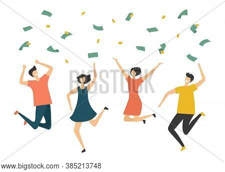 Happy People Under Money Rain. Jumping Man Woman, Profit Or Lottery Win Vector Illustration. Finance