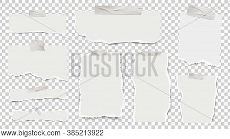 Ripped Notes Paper. Realistic Sheets Glued With Tape, Empty Blank Papers Vector Set. Paper Torn Shee
