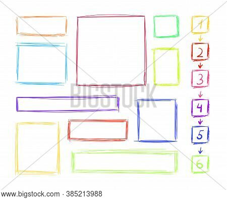 Vector Scribble Lines Square Frames Set Isolated On White Background, Colorful Illustration, Blank F