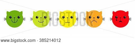 Cat Kitten Kitty. Feedback Scale. Smiley Face Satisfaction Emoticon Happiness. From Happy To Angry E