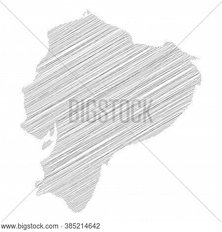 Ecuador - Pencil Scribble Sketch Silhouette Map Of Country Area With Dropped Shadow. Simple Flat Vec