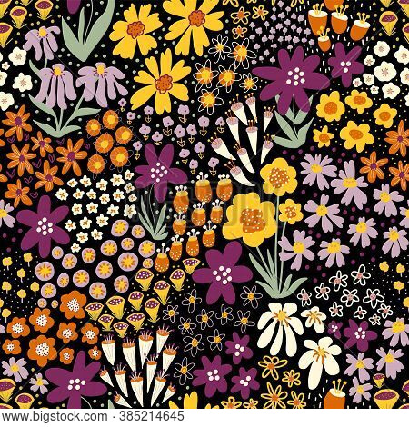 Flower Field Autumn Colors On Black Seamless Vector Pattern. Repeating Dense Liberty Doodle Flower M