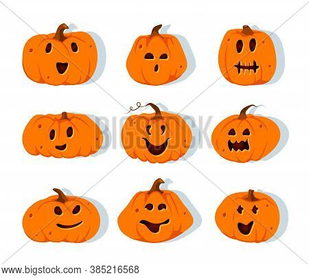 Halloween Pumpkins Paper Cut Icon Set. Different Shapes Squash With Carved Cute Faces Emotion. Sign