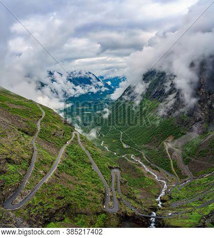 Troll's Path Trollstigen or Trollstigveien winding mountain road in Norway.