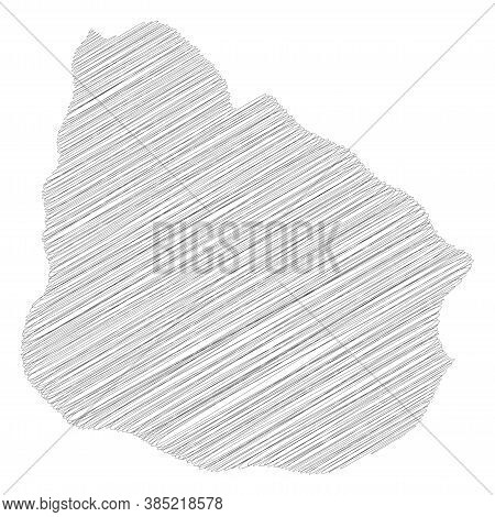 Uruguay - Pencil Scribble Sketch Silhouette Map Of Country Area With Dropped Shadow. Simple Flat Vec
