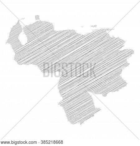 Venezuela - Pencil Scribble Sketch Silhouette Map Of Country Area With Dropped Shadow. Simple Flat V