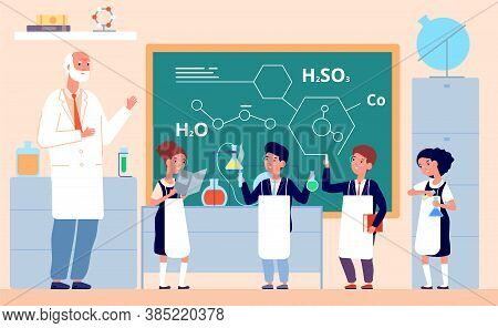 Kids Chemistry Lab. School Science Laboratory, Children In Class Chalkboard. Scientific Experiment,