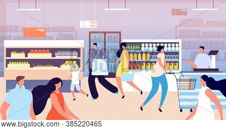 Grocery Store Shopping. Customer In Supermarket, Kid Mother Buy Healthy Food. Family People With Bas