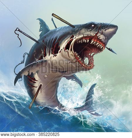 Great White Shark Zombie Attacks In A Jump. A Giant Zombie Shark Attacks Jumping Out Of The Sea Into