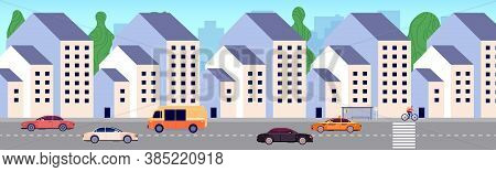 Modern City Street. Urban District, New Buildings Area. Apartment Houses, Bus Stop And Cars. Urbaniz
