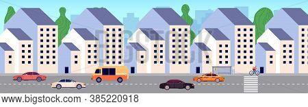 Modern City Street. Urban District, New Buildings Area. Apartment Houses, Bus Stop And Cars. Urbaniz