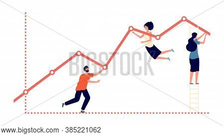 Pushing Upward Graph. Work Results, Increase Profit And Business Growth Metaphor. Flat People Progre