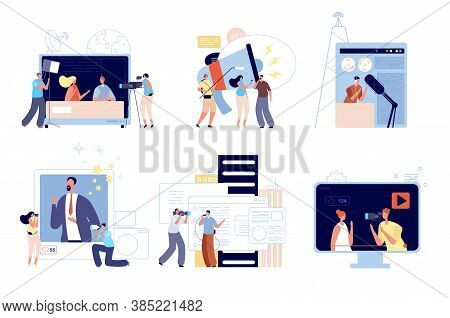 News Media Reporters. People Communications, Web Blog Update Or Creative Mobile Interview. Digital R