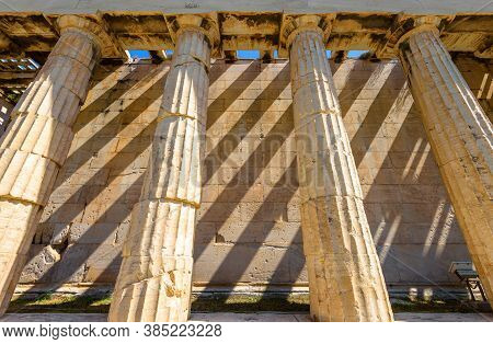 Temple Of Hephaestus In Ancient Agora, Athens, Greece. It Is Famous Landmark Of Athens. Shadow Strip