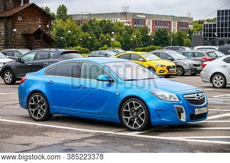 Moscow, Russia - August 13, 2020: Blue Car Opel Insignia Opc In The City Street.