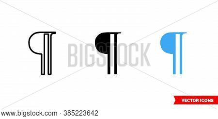 Paragraph Symbol Icon Of 3 Types Color, Black And White, Outline. Isolated Vector Sign Symbol.