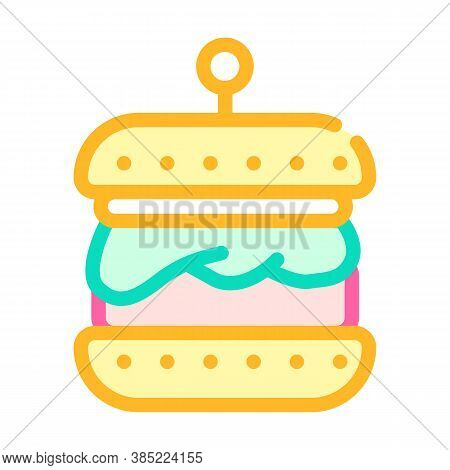 Hamburger With Vegan Cutlet Color Icon Vector Illustration