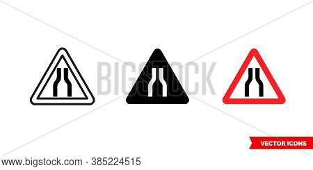 Road Narrows On Both Sides Icon Of 3 Types Color, Black And White, Outline. Isolated Vector Sign Sym