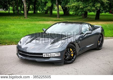Moscow, Russia - August 14, 2020: American Roadster Chevrolet Corvette Stingray C7 In The City Park.
