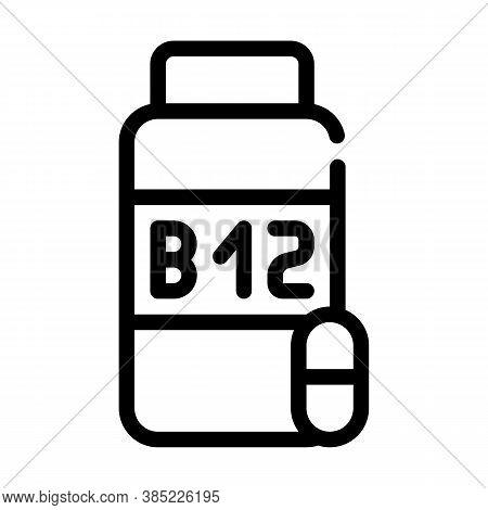 Vitamins B12 Line Icon Vector Symbol Illustration