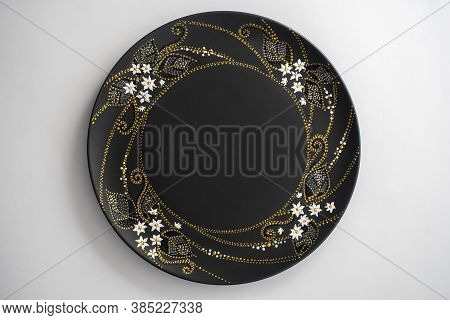 Decorative Ceramic Plate With White, Golden And Silver Colors, Painted Plate On White Background, Cl