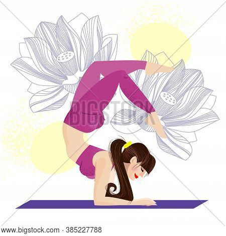 Girl Does Yoga Exercises On Mat. Girl Practices Yoga In A Scorpion Pose On A White Background With L