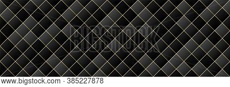 Gold, Black Gradient Color Rhombus Seamless Pattern Background, Line Geometric Luxury Texture, Minim