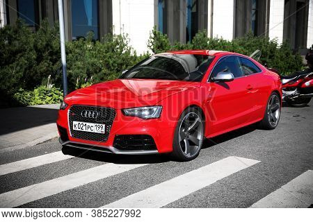 Saint Petersburg, Russia - August 20, 2020: Red Sportscar Audi Rs5 In The City Street.