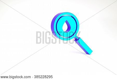 Turquoise Oil Drop Icon Isolated On White Background. Geological Exploration, Geology Research. Mini