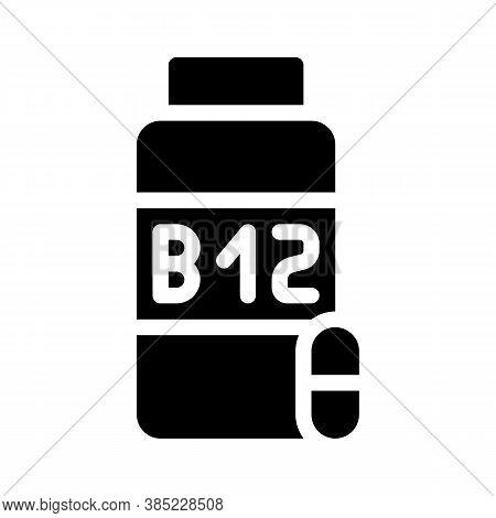 Vitamins B12 Glyph Icon Vector Symbol Illustration