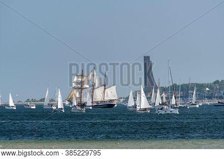 Kiel, Germany - September 12, 2020: At The End Of The Kiel Week 2020 A Windjammer Parade Took Place