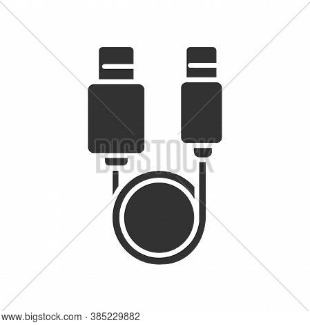 Usb Cable Black Glyph Icon. Connectors And Sockets For Pc And Mobile Devices Sign. Computer Peripher